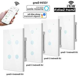 1/2/3/4 Gang Home Smart WiFi Wall Light Switch Touch Panel A