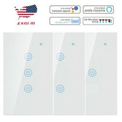 1/2/3 Gang Smart WiFi Touch Wall Light Switch US Panel for A