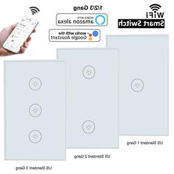 1/2/3 Gang Smart WiFi Wall Light Switch Touch Panel For Amaz