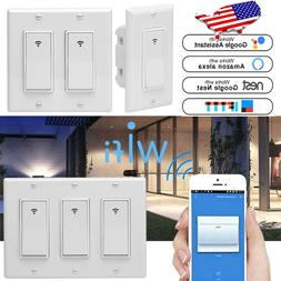 3× 1/2/3 Gang Smart WiFi Wall Light Switch Modern Panel For