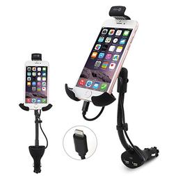 Te-Rich 2-in-1 Cigarette Lighter Phone Holder Car Mount Char
