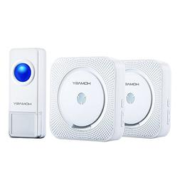 Homasy Wireless Doorbell with 1 Push Button Waterproof Trans