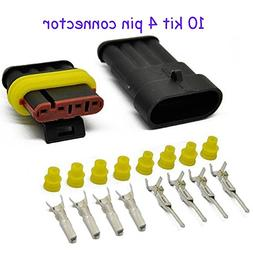 HIFROM 10 Kit 4 Pin Way Waterproof Electrical Connector 1.5m