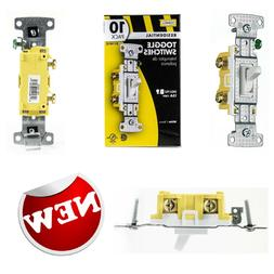 Hubbell 10-Pack 15-amp Single Pole White Framed Toggle Indoo