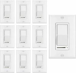 10 Pack 150W LED and CFL/600W Incandescent Wall Light Switch