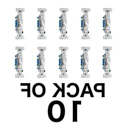 10 PACK LIGHT SWITCHES 15-Amp Single Pole White Indoor Toggl