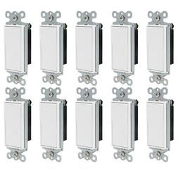 10 Pack Paddle Wall Light Switch On/Off Rocker, Single Pole