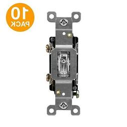 10/PK Clear Lighted 15A Toggle Switch Amber Light Illuminate