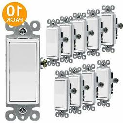 10PK Decorator 15A Rocker Switch Single Pole Light Controlle