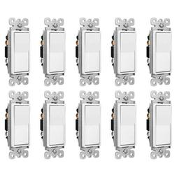 10PK Decorator Rocker In Wall Paddle Switch Replacement 15A