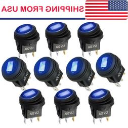 10x ROCKER 12V ROUND TOGGLE ON/OFF 20A CAR SNAP IN SWITCH Bl