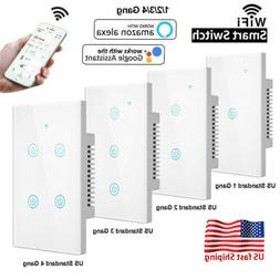110V Home WiFi Smart Wall Touch Light Switch Glass Panel for