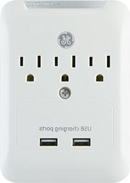 GE 2 USB 3 Outlet Surge Protector Outlet Adapter, 2.4A USB P