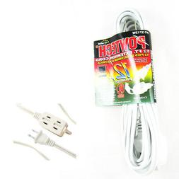 12 FT 3 Outlet Indoor Wall AC Extension Cord Cable Safety Sw