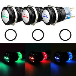 12V 19mm Momentary BLUE LED Marine Car Stainless Horn Push B