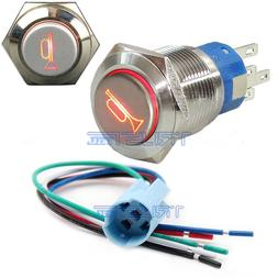 12V Socket Plug+LED Lighted Momentary Metal Push Button Air