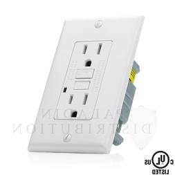 15A GFCI Receptacle Outlet w/ LED & Wallplate UL 2008 - Whit