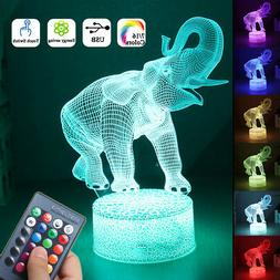 16 Colors 3D LED Night Light Touch Switch Elephant Table Bed