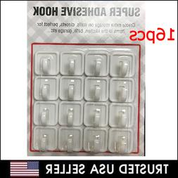 16 Pcs White Self Adhesive Plastic Square Hook Small Wall Mo