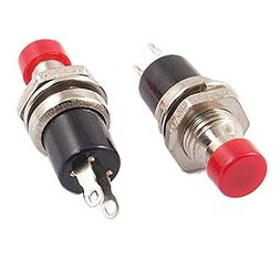 URBEST 1A 250V AC 2 Pin SPST Off- Round Momentary Push Butto