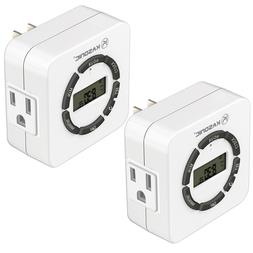 2 Pack Digital Timer Outlet, 7 Days Heavy Duty Programmable