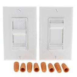 2 Leviton White Decora LIGHTED Slide Dimmer Switches Preset
