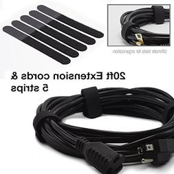 |2-Pack|20ft 3 Prong Extension Cord Adapter with 5 Piece Hoo