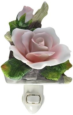 Cosmos 2121 Fine Porcelain Lighted Pink Rose Night Light, 3-