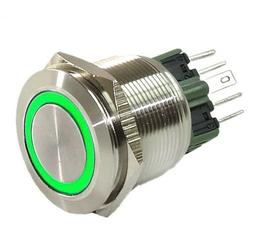 25mm Stainless Steel Push Button GREEN Halo Angel Eye LED On