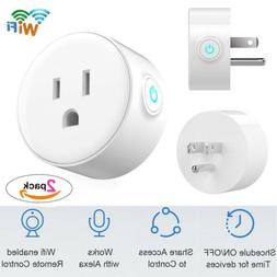 2PCS Smart WiFi Plug Outlet Swtich work with Echo Alexa Goog