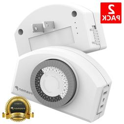2x Indoor 24 Hour Daily Mechanical 2 Prong Outlet Light Time