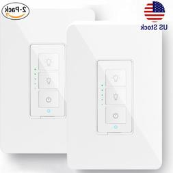 2x Wifi Smart Dimmer Light Wall Switch Works with Amazon Ech
