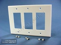 Leviton 80611-W 3-Gang Decora/GFCI Device Decora Wallplate,