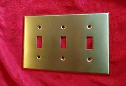 3-Gang Heavy Satin Brass Toggle light Switch Cover Wallplate