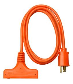 Coleman Cable 04004 6' 14/3 Orange 3-Way Power Block Multi-O