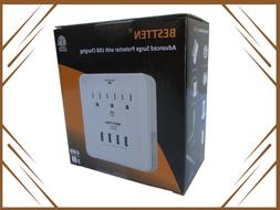 BESTTEN 3 Outlet Receptacle with 4 USB Ports Surge Protector