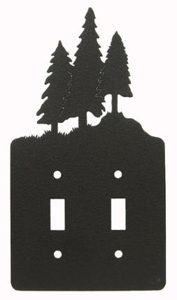 3 Pine Trees Double Light Switch Plate Cover