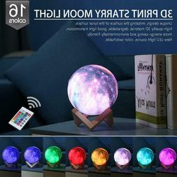3D Galaxy Star LED Moon Lamp Color Changing Touch Switch Nig