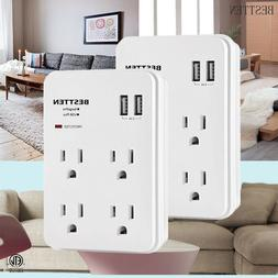 4 Electrical Outlet with 2 USB Port Surge Protector Multi Pl
