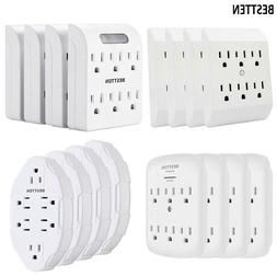 4 Pack 6 Way Outlet Indoor Wall Tap Adapter AC Plug Splitter