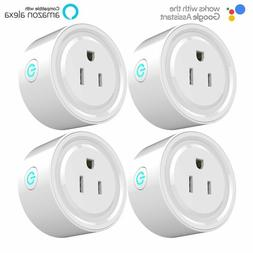 4 Pack Smart Wi-Fi Mini Outlet Plug Switch Works With Echo A