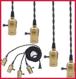 4 Vintage Light Sockets Pendant Hanging Cord W Switches E26/