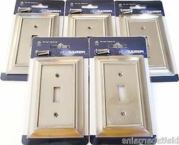 5 PEERLESS SATIN NICKEL WALL SWITCH PLATE COVER LIGHT SINGLE