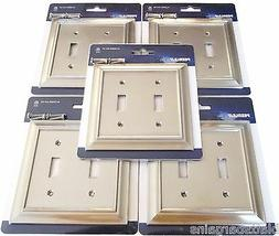 5 PEERLESS SATIN NICKEL WALL SWITCH PLATE COVER LIGHT DOUBLE