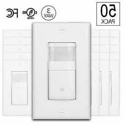 50 White 3-Way Motion Sensor Light Switch Neutral Wire Requi