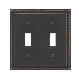 Amerelle 54TTVB Georgian 2 Toggle Wallplate, Aged Bronze