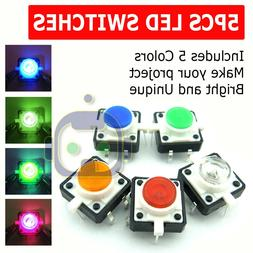 5X LED Light Tactile Push Button Switch Momentary Cap Assort