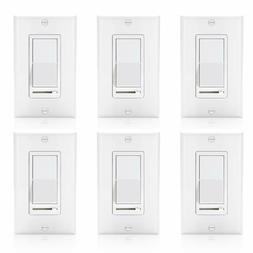 6 Pack 150w LED and CFL/600w Incandescent Wall Light Dimmer