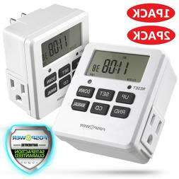 7 Day Heavy Duty Digital Electric Programmable Dual Outlet P
