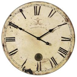 "Aged Oversized Wall Clock, 23""D, YELLOW CREAM"